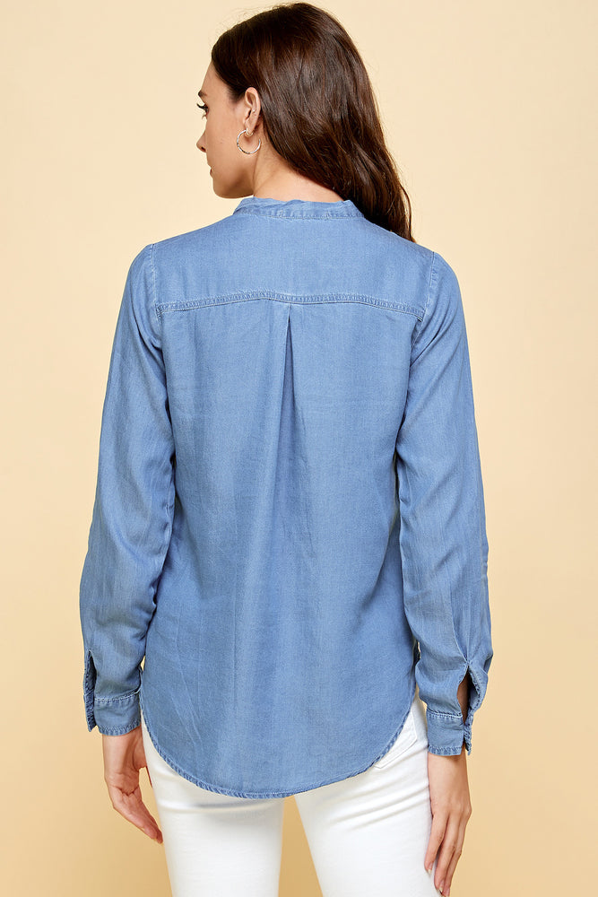 [Blue Age] Long Sleeve V-Neck Tie Tencel Shirt