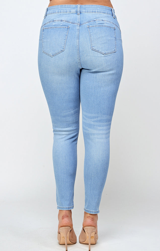 Load image into Gallery viewer, [Blue Age] Premium Solid Denim Jeans in Plus Sizes