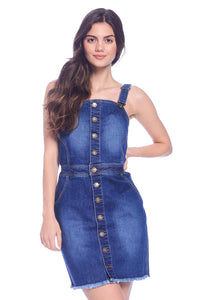 [Wax Jeans] Womens Button Trimmed Denim Overall Skirts - Blueage Jeans