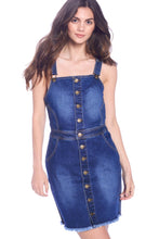 Load image into Gallery viewer, [Wax Jeans] Womens Button Trimmed Denim Overall Skirts - Blueage Jeans