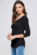 Load image into Gallery viewer, [Ambiance] Three Quarter Sleeve Keyhole Top - Blueage Jeans
