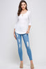 [Ambiance] Three Quarter Sleeve Keyhole Top - Blueage Jeans