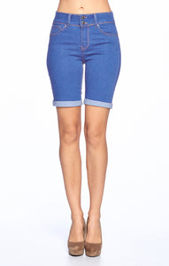 [Wax Jeans] Womens Trendy Denim Shorts with Rolled Hem - Blueage Jeans