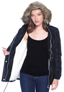 [Ambiance] Oversized Puff Jacket with Faux Fur Hoodie - Blueage Jeans