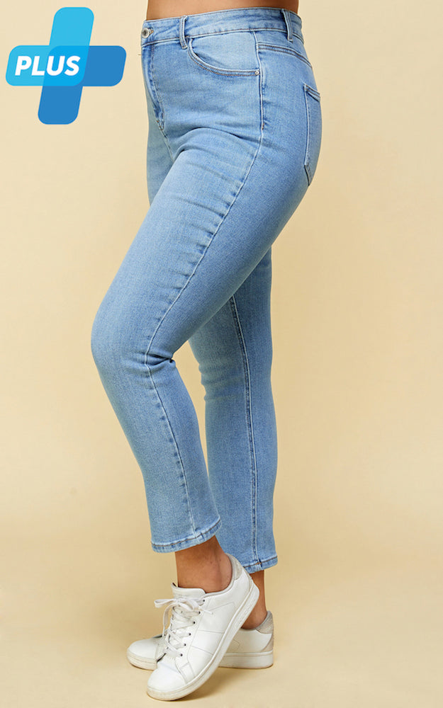 [Blue Age] High Rise Solid Fine Stretch Jeans in Plus Sizes