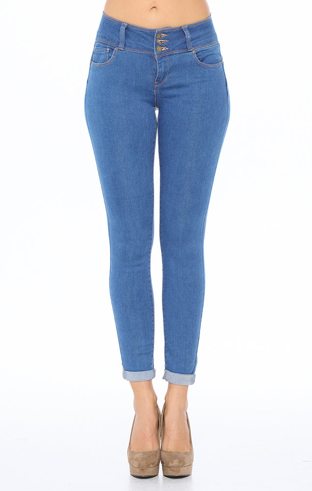 Load image into Gallery viewer, [Blue Age] High Rise Solid Skinny Jeans