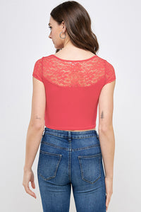 [Ambiance] Crochet Short Sleeve Top - Blueage Jeans