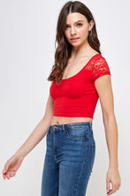 Load image into Gallery viewer, [Ambiance] Crochet Short Sleeve Top - Blueage Jeans