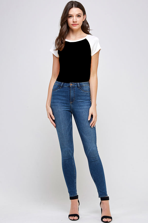Load image into Gallery viewer, [Blue Age] Ladys Short Sleeve Bodysuit - Blueage Jeans