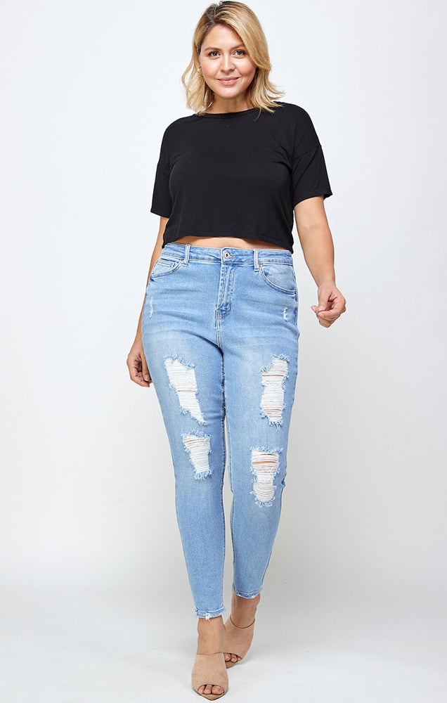 Load image into Gallery viewer, [Blue Age] Fine Cotton Destroyed Denim Jeans in Plus Sizes