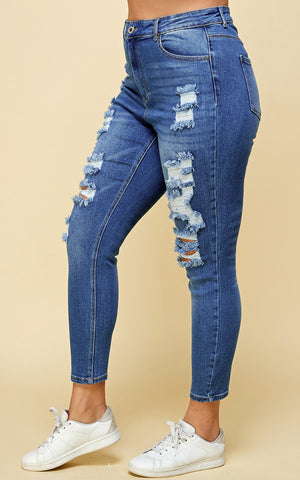 Load image into Gallery viewer, [Blue Age] High Rise Destroyed Denim Jeans in Plus Sizes