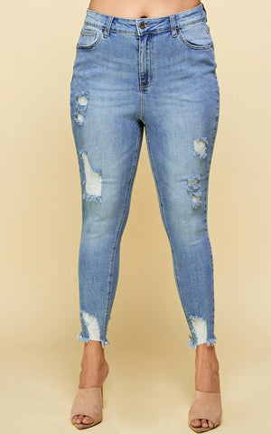 Load image into Gallery viewer, [Blue Age] High Rise Raw Hem Destroyed Denim Jeans in Plus Sizes