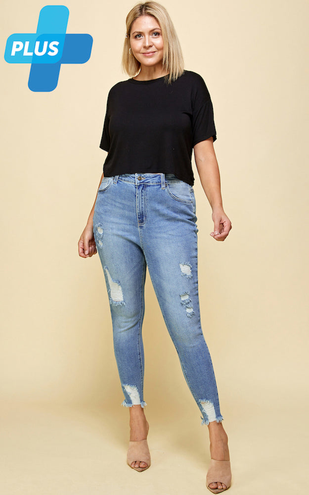 [Blue Age] High Rise Raw Hem Destroyed Denim Jeans in Plus Sizes