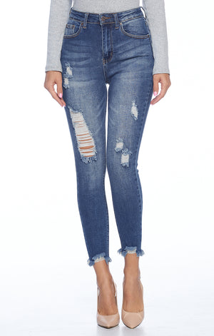 Load image into Gallery viewer, [Blue Age] Frayed Raw Hem Destroyed Jeans