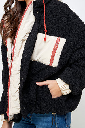 Load image into Gallery viewer, [Ambiance] Mix Media Hooded Sherpa Jacket