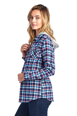 Load image into Gallery viewer, [Blue Age]Hoodied Plaid Flannel Long Sleeve Button shirts - Blueage Jeans