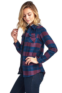 [Blue Age] Plaid Flannel Long Sleeve Button shirts with Hoodie - Blueage Jeans