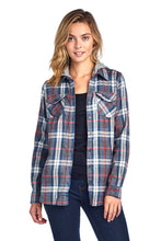 Load image into Gallery viewer, [Blue Age] Plaid Flannel Long Sleeve Button shirts with Hoodie - Blueage Jeans