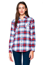 Load image into Gallery viewer, [Blue Age] Ladies Plaid Flannel Long Sleeve Button Shirts - Blueage Jeans