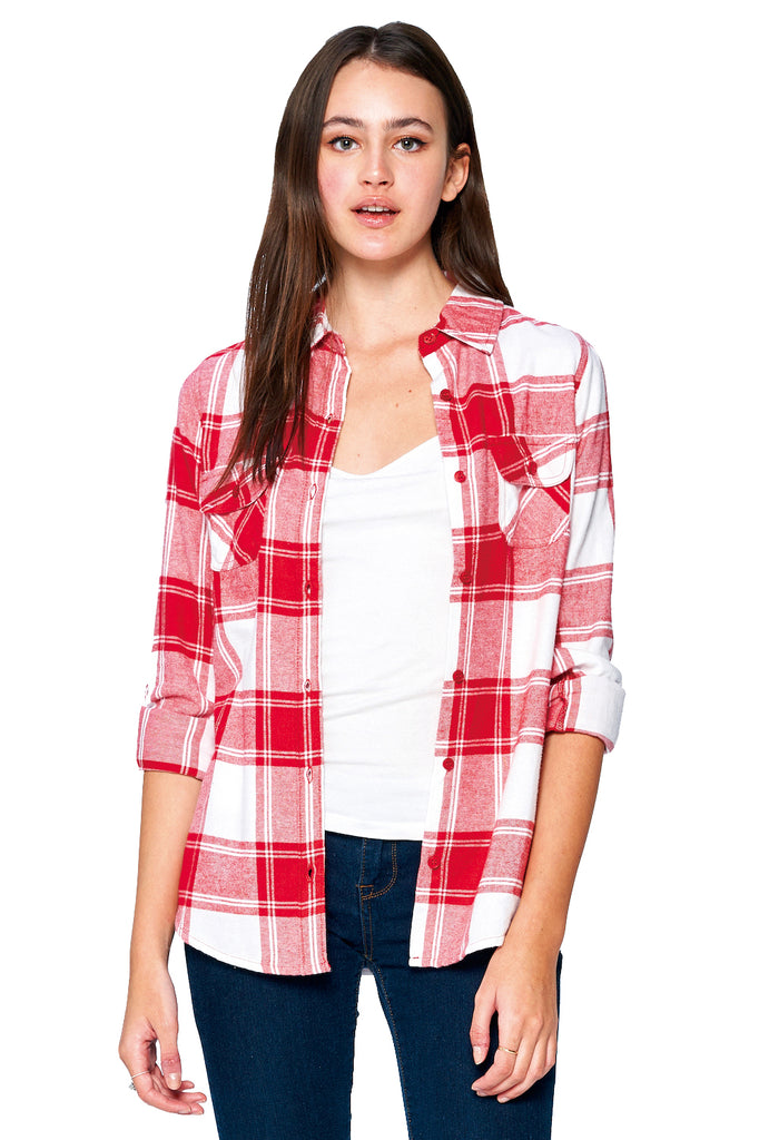 [Blue Age] Ladies Plaid Flannel Long Sleeve Button Shirts
