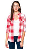 [Blue Age] Ladies Plaid Flannel Long Sleeve Button Shirts - Blueage Jeans
