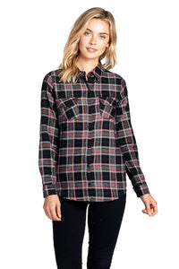 [Blue Age] Ladies Plaid Flannel Long Sleeve Button Shirts in PLUS Size - Blueage Jeans