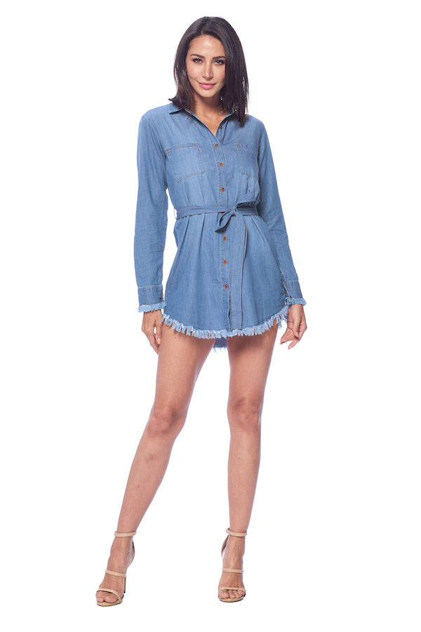 [Blue Age] Denim Chambray Blouse with Frayed Hem - Blueage Jeans