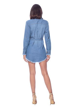 Load image into Gallery viewer, [Blue Age] Denim Chambray Blouse with Frayed Hem - Blueage Jeans