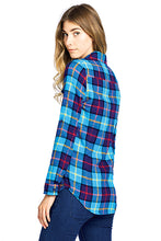 Load image into Gallery viewer, [Blue Age] Women's Plaid Flannel Long Sleeve Button Shirts - Blueage Jeans