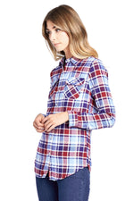 [Blue Age] Women's Button Down Plaid Flannel Shirts - Blueage Jeans