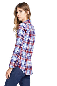 [Blue Age] Women's Plaid Flannel Long Sleeve Button Shirts - Blueage Jeans