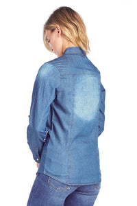 [BLUE AGE] Chambray Denim Shirt Jean Top - Blueage Jeans