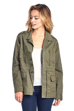 Load image into Gallery viewer, [Blue Age]Womens Button Up Casual Safari Jacket with Waist Drawstrings - Blueage Jeans