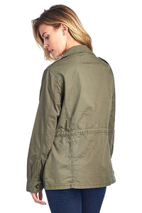 [Blue Age]Womens Button Up Casual Safari Jacket with Waist Drawstrings - Blueage Jeans