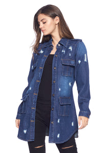 [Blue Age] Womens Destroyed Denim Jacket with Four Pockets - Blueage Jeans