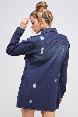 Load image into Gallery viewer, [Blue Age] Destroyed Denim Jacket with Four Pockets - Blueage Jeans