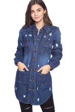 Load image into Gallery viewer, [Blue Age] Womens Destroyed Denim Jacket with Four Pockets