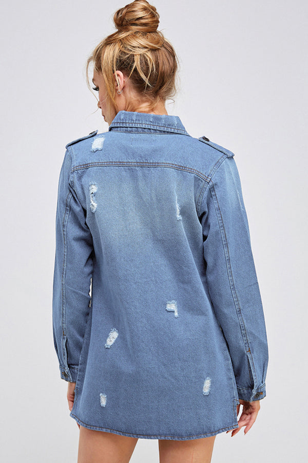 Load image into Gallery viewer, [Blue Age] Destroyed Denim Jacket with Four Pockets