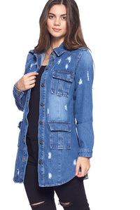 [Blue Age] Womens Destroyed Denim Jacket with Four Pockets