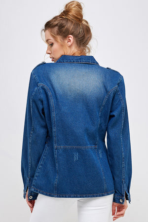 Load image into Gallery viewer, [Blue Age] Denim Jacket with Half Zipper - Blueage Jeans