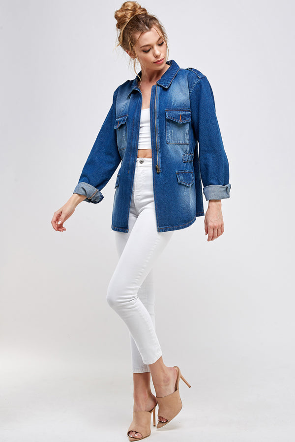 [Blue Age] Denim Jacket with Half Zipper - Blueage Jeans