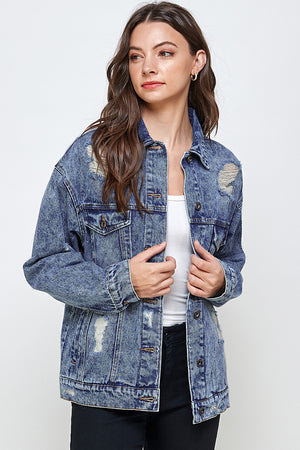 Load image into Gallery viewer, [Blue Age] Destroyed Oversize Denim Jacket