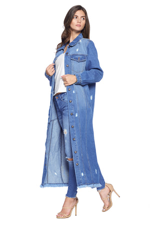 Load image into Gallery viewer, [Blue Age] Womens Denim Long Jacket - Blueage Jeans