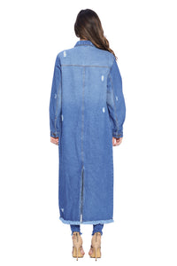 [Blue Age] Womens Denim Long Jacket - Blueage Jeans