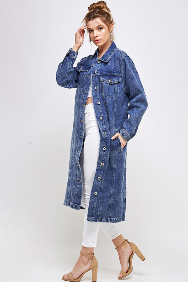 [Blue Age] Long Trench Coat Denim Jean Jacket