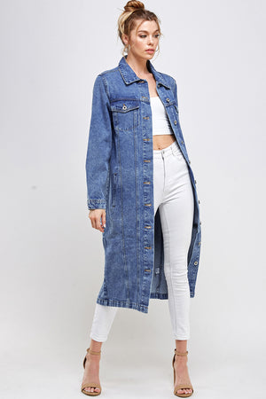 Load image into Gallery viewer, [Blue Age] Long Trench Coat Denim Jean Jacket
