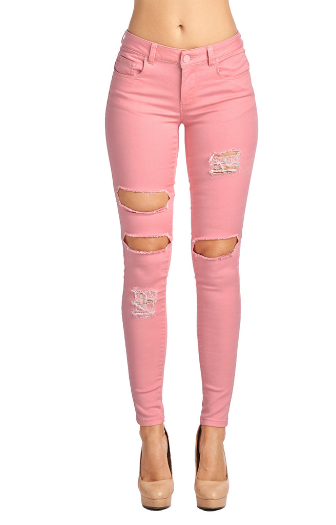[Blue Age] Womens Destroyed Mauve Skinny Jeans - Blueage Jeans