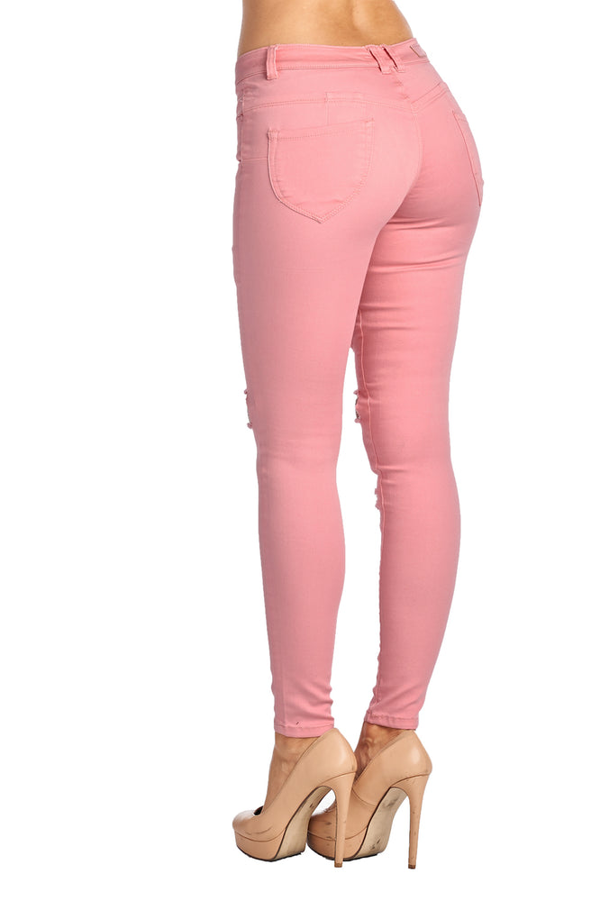 Load image into Gallery viewer, [Blue Age] Womens Destroyed Mauve Skinny Jeans - Blueage Jeans