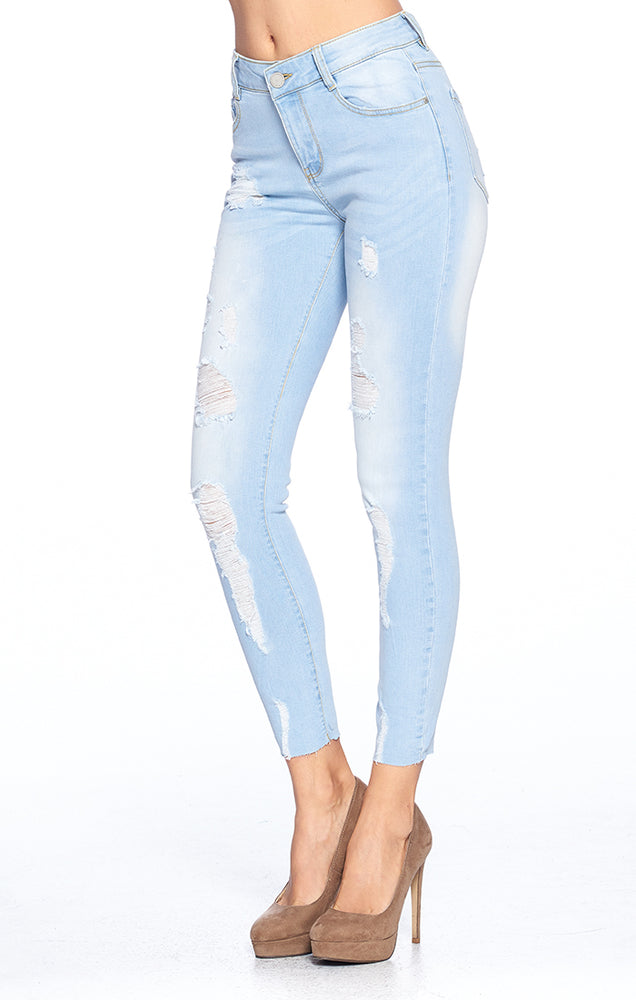 Load image into Gallery viewer, [Blue Age] Destroyed Skinny Jeans with Raw Hem - Blueage Jeans