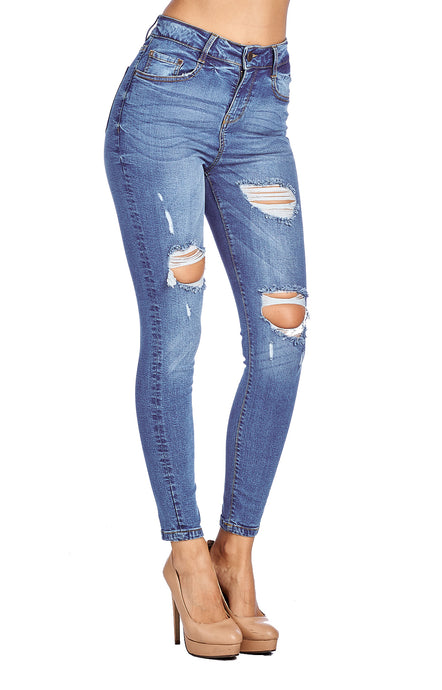 [Blue Age] High Waisted Destroyed Skinny Jean - Blueage Jeans